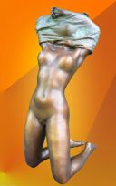 BRONZE STATUE NAKED NOUVEAU GIRL HOT CAST FIGURINE